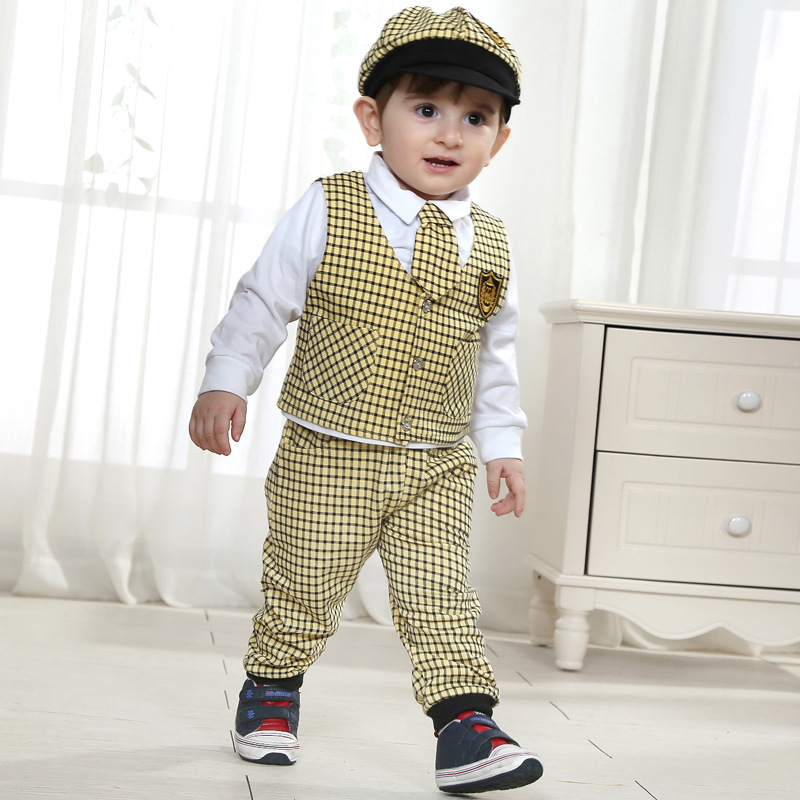 624154aeca76 newborn factory direct clothing baby born infant kids infantil clothes  gentleman costume boy suit cap and tie 4 pieces suits-in Clothing Sets from  Mother ...