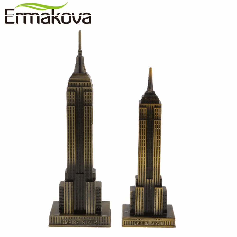 ERMAKOVA Antik Bronze Amerikansk Empire State Building Model Metal Figur World Famous Landmark Architecture Home Decor