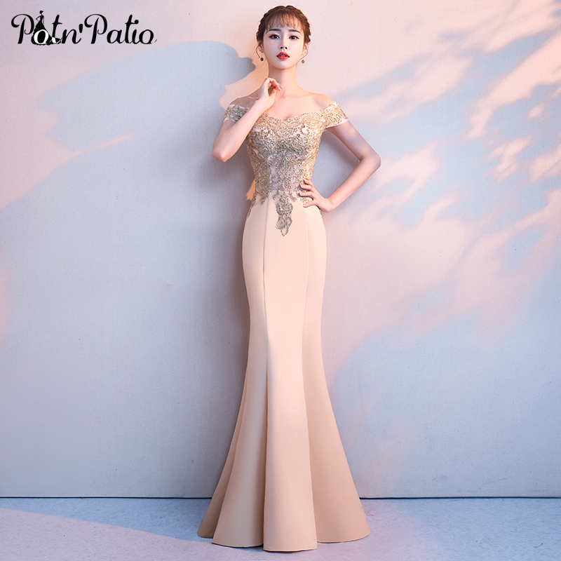 Sexy Boat Neck Off The Shoulder Gold Mermaid   Prom     Dresses   2019 Plus Size Off The Shoulder Appliques Spandex Satin Evening Gowns