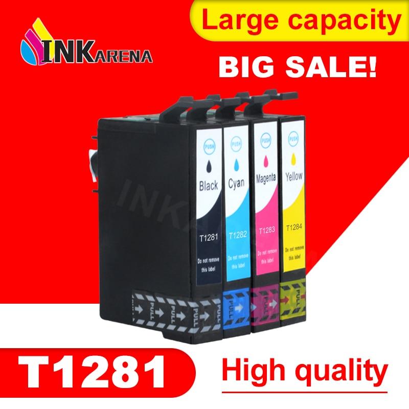 4PCS priekš Epson T1281 T1282 T1283 T1284 tintes kasetne EPSON irbuli SX125 SX235W SX435W SX425W BX305F BX305FW printeris