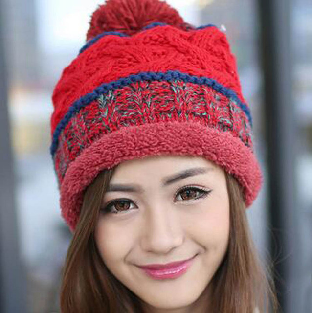 93a163fb3a1 2016 Winter Brand New Colorful Snow Caps Knitted Beanie Hat With Raccoon  Fur Pom Poms For