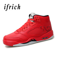Basketball Men Shoes Red Black Sport Shoes Basketball Male Comfortable Boys High Top Shoes Basketball Air Cushion Training Shoes