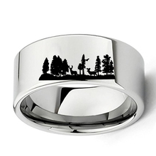 Animal Landscape Scene Deers Ring Engraved Flat Polish Tungsten Carbide Ring 11mm Mens Outdoors Hunting Wedding Band