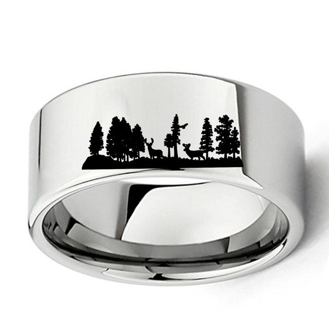 Animal Landscape Scene Deers Ring Engraved Flat Polish Tungsten Carbide 11mm Mens Outdoors Hunting Wedding