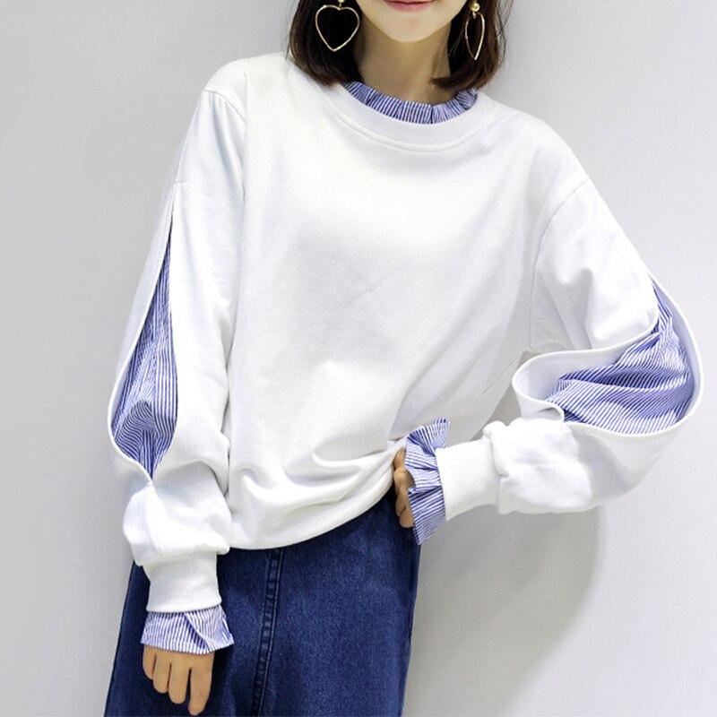 Plus Velvet Thicken Winter New Women's Hoodies Fake Two Pieces Hoodie Female Head Loose Long-sleeved Casual Sweatshirt Tops