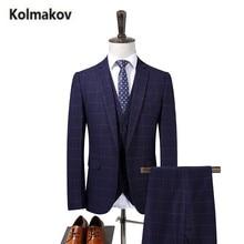(Jacket+Pant+Vest)KOLMAKOV 2017 new Men's High quality cotton and wool plaid suits,wedding dress suit,formal Business blazer men