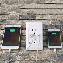 1 шт. Высокое Качество США Plug Dual 2 Порта USB Розетки Зарядное Устройство ПЕРЕМЕННОГО ТОКА На Выходе Панели Плиты Безопасности 110 В 15А Универсальная