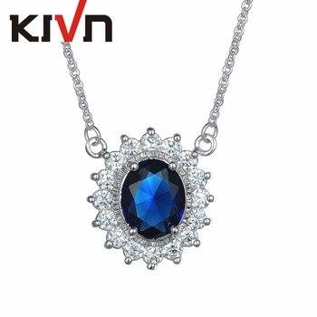 KIVN Jewelry Blue CZ Cubic Zirconia Womens Girls Princess Diana Bridal Pendant Necklaces Birthday Gifts 10pcs Lot Wholesale
