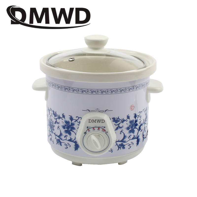 DMWD Household Electric Mini Slow Cooker 140W MINI Mechanical timer Stewing Soup Porridge Pot Ceramic food cooking machine 1.5L 220v household electric slow stewing pot machine baby porridge food maker automatic ceramic inner stewing cooker eu au uk