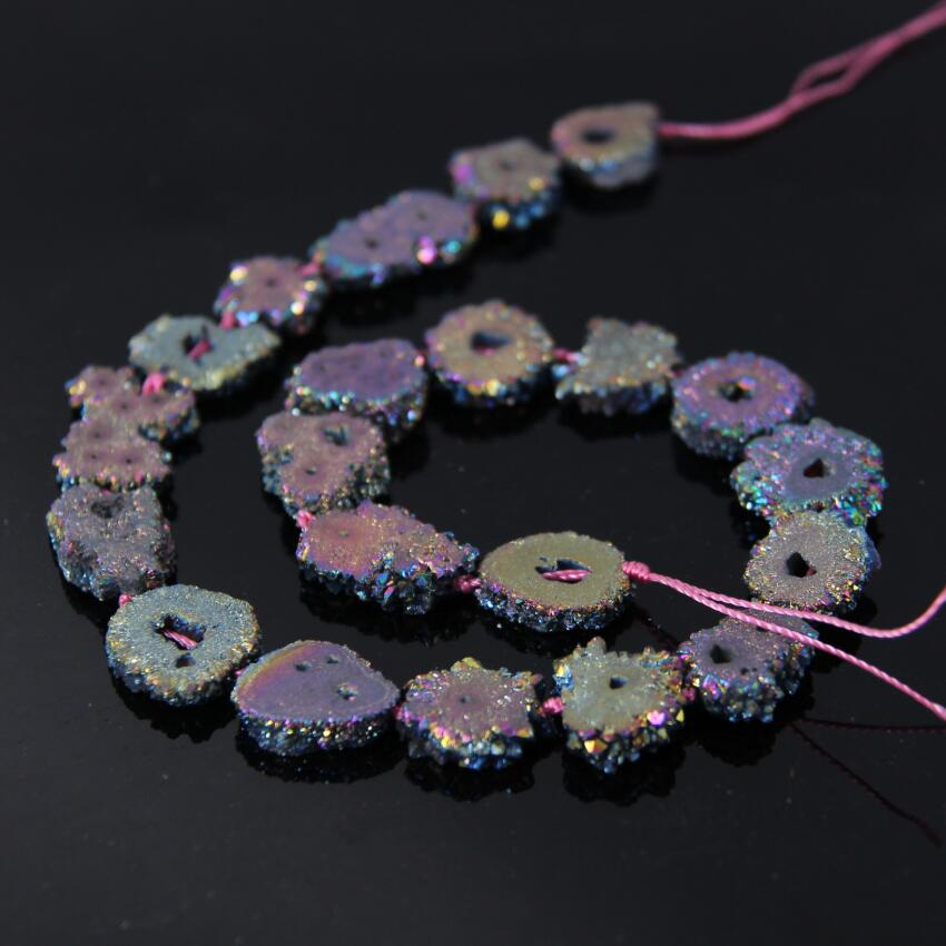 AAA Grade 15.5Strands Rainbow Titanium Druzy Quartz Geode Beads,Raw Crystal Drusy Slab Round Pendant Beads Jewelry Making