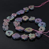 AAA Grade 15.5Strands Rainbow Titanium Druzy Quartz Geode Beads,Raw Crystal Drusy Slab Round Pendant Beads Jewelry Making