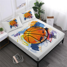 Watercolor Football Basketball Sheet Set Colorful Sports Design Bed Deep Pocket Fitted Linens Pillowcase D45