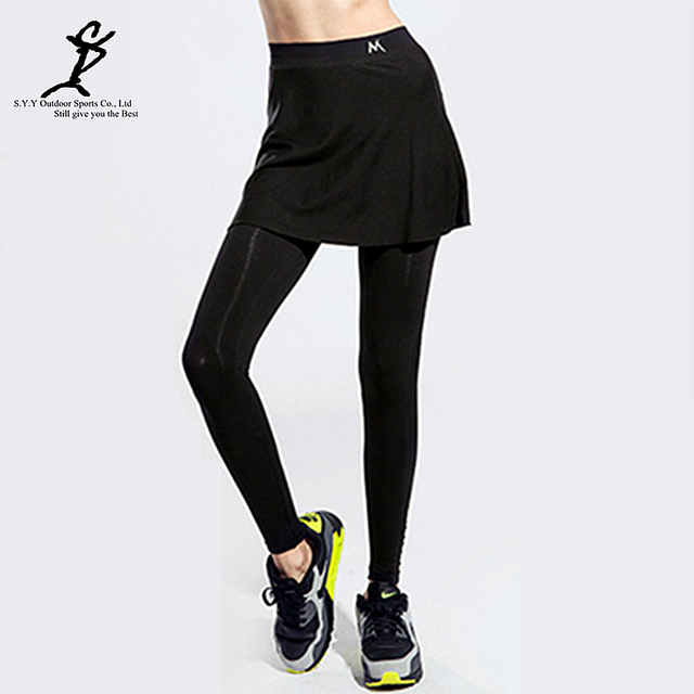 39f331a730b36 New Sports Women Fake Two-Pieces Running Leggings Hot Outdoor Fitness And  Tennis Skirts Pants New Gym Female Badminton Tights