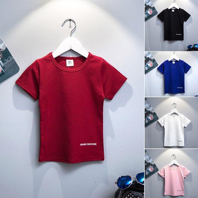2016 детей твердых хлопок с коротким рукавом футболки для мальчиков письма печать девушки мода дети Tshirt топы мальчиков одежда