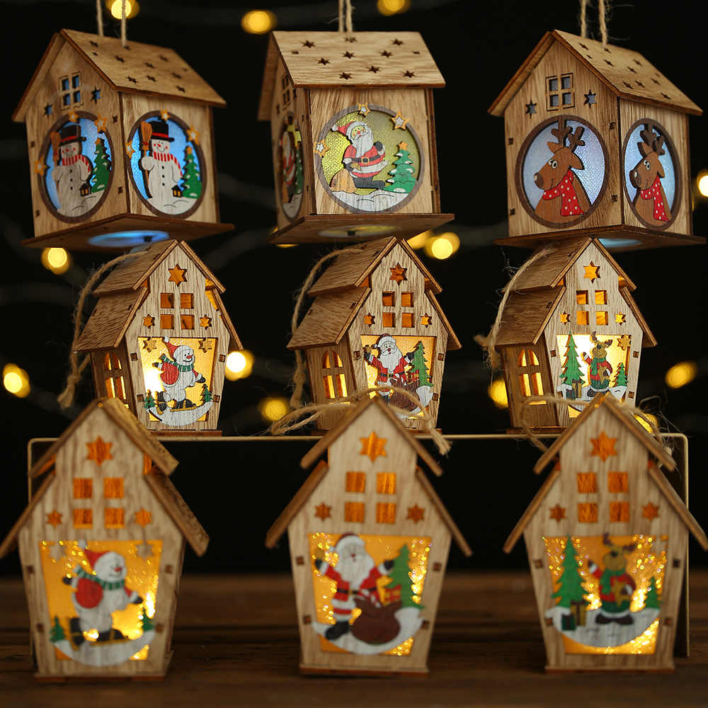 DIY Led Light Wooden House Christmas Tree Decoration Elk Santa Clause Snowman Hanging Pendant Merry Christmas Decor for Home