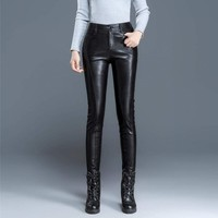 Plus Size Women Real Leather Fleece Lining Pencil Pant Office Ladies High Waist Luxury Sheepskin Genuine Leather Female Trousers