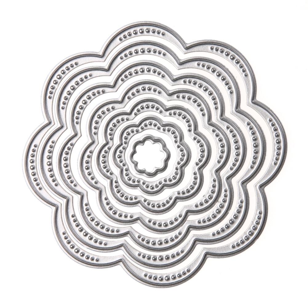 7Pcs/Set Flower Circles Metal Cutting Dies Stencils DIY