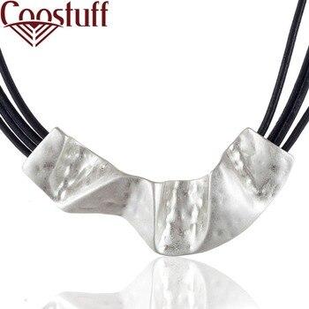 ee41a32e3d9c Nuevo joyería de las mujeres de cuero negro gargantilla collar con colgante  de plata collares y colgantes collares mujer colar gargantilla