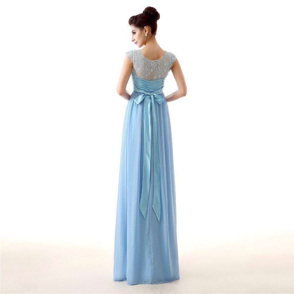 Cheap Lace Sheer Prom Dresses Sky Blue 2017 Long Graduation Party ...