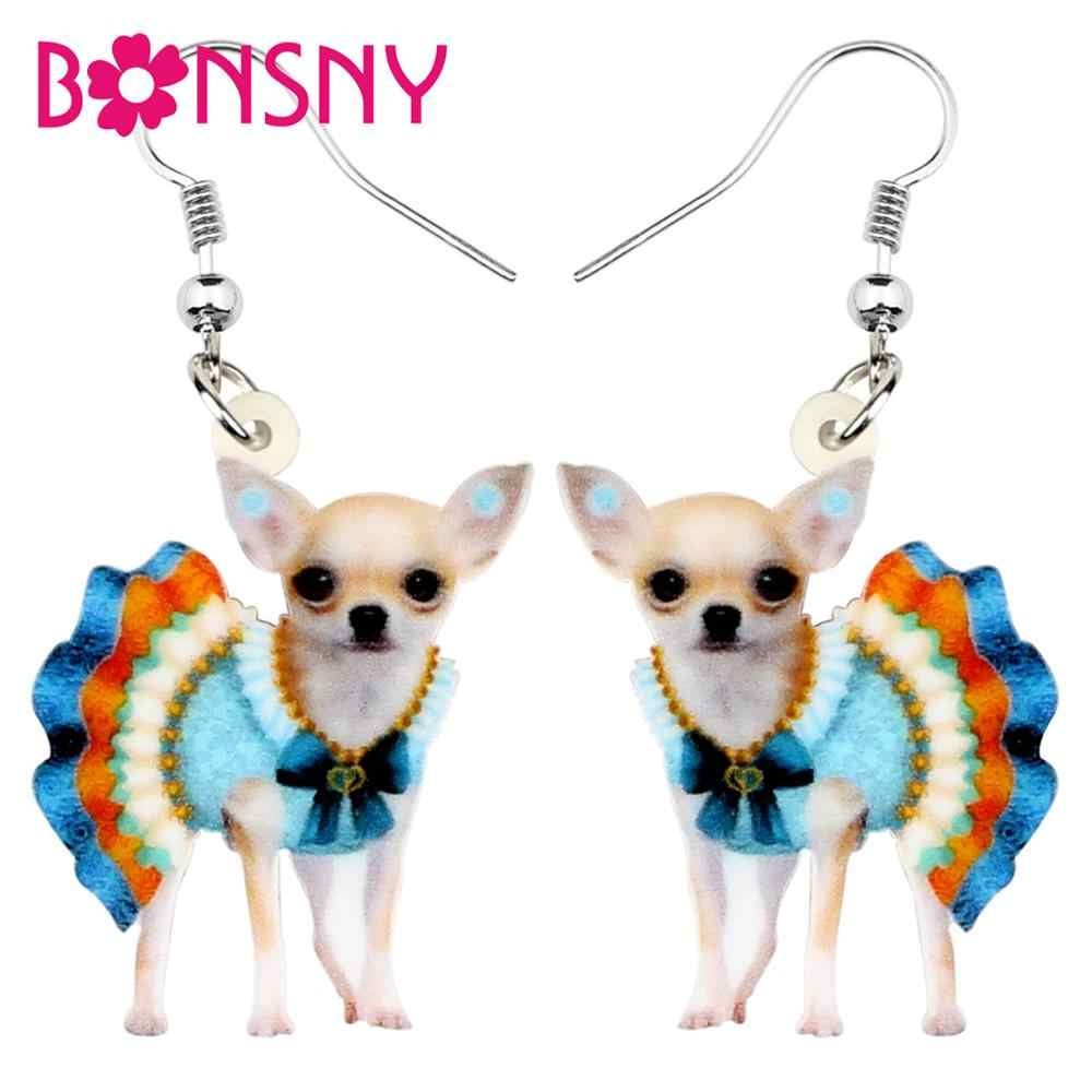Bonsny Acrylic Blue Skirt Chihuahua Earrings For Women Dangle Drop Fashion Jewelry Girls Children Charms Gift