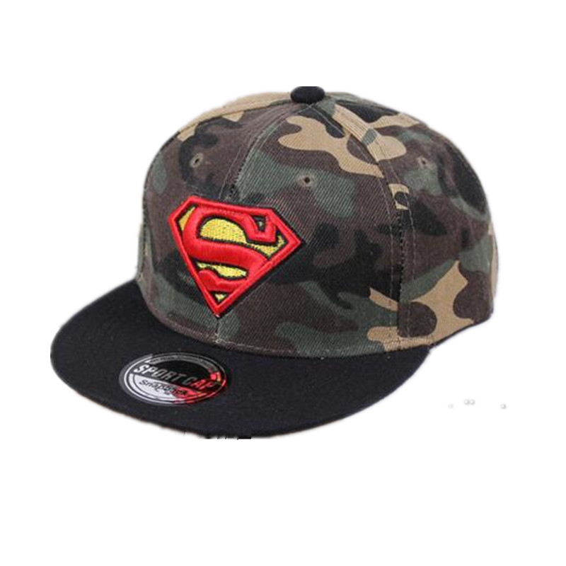 2017 New Brand Children Superman Snapback Hats Baseball Cap Boys And Girls Kids Fashion Hip Hop Caps Baby Casquette Hat 2016 high quality camo baseball caps kids boys snapback caps children girls hip hop cap fashion summer baby sun hats for girls