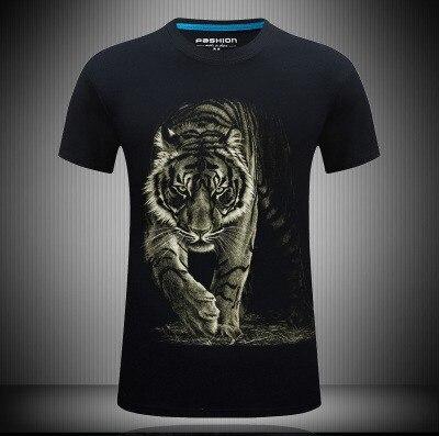 Plus Mens Cotton Hd 3D Digital Print Tiger Male Loose Short Sleeves T-shirt Tees Tops Big Size Summer S~6XL