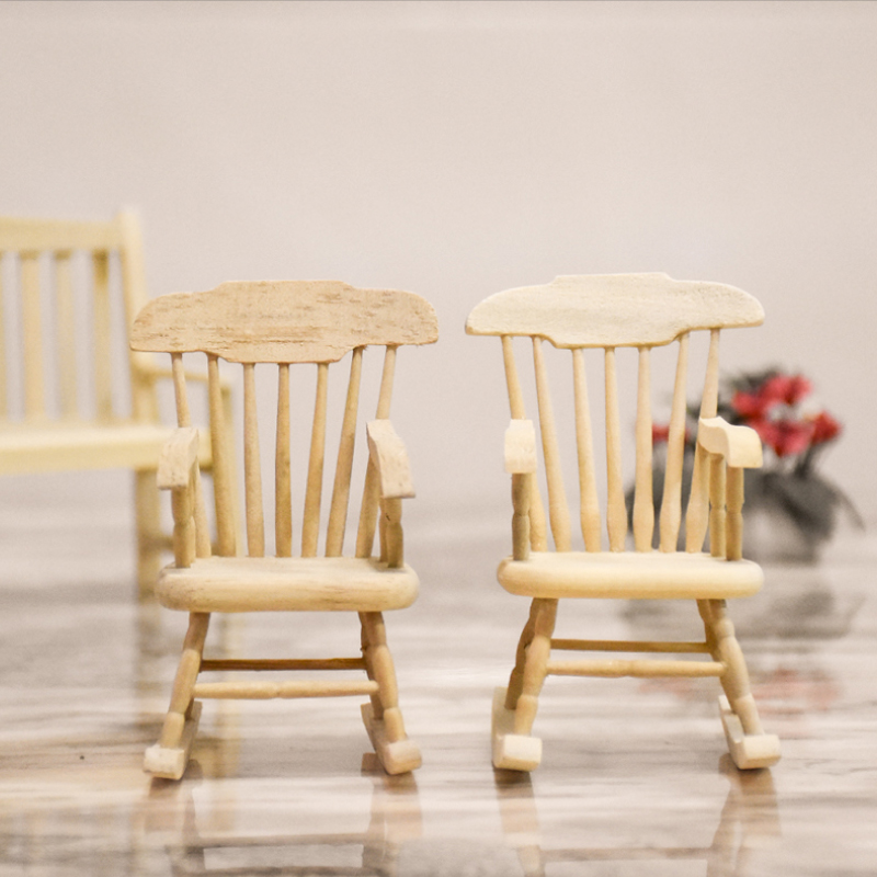 2pcs/lot 1:12 wooden furniture toy miniature rocking chair pretend play toys for Dolls house mini chair for girls children kids
