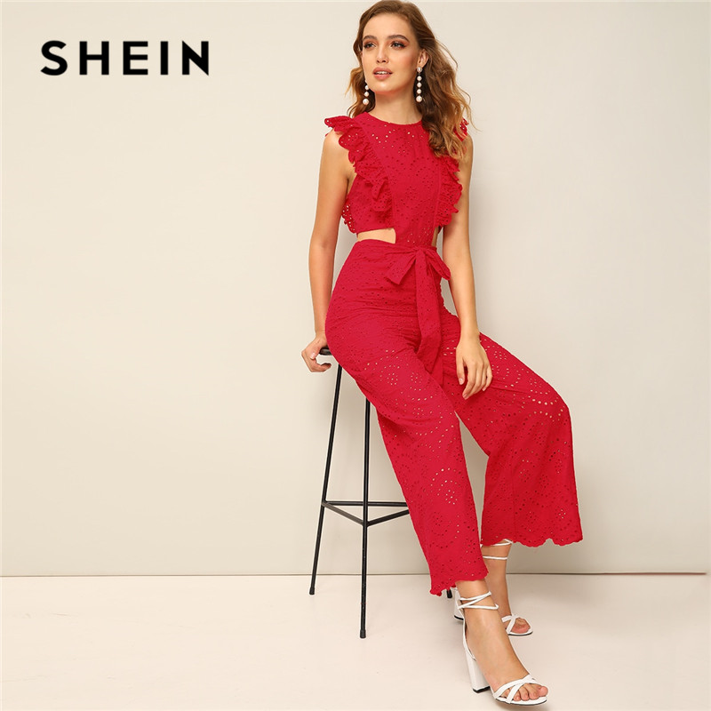 SHEIN Red Ruffle Trim Cut Out Waist Eyelet Embroidered Wide Leg Jumpsuit Women Clothes 2019 Summer