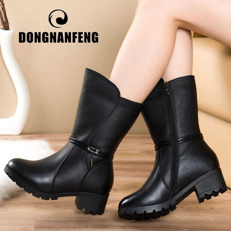 DONGNANFENG Kadın Kadın Bayanlar Anne Hakiki deri ayakkabı Botları Kış Peluş Kürk Sıcak Fermuar Orta Buzağı Artı Boyutu 42 43 BH-663