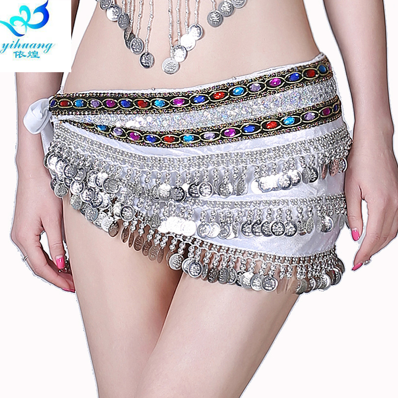 Girl Arabian Belly Dance Costume Hip Scarf Festival Party Skirt Egyptian Performance Belt Oriental Indian Dress With 3 Rows Coin