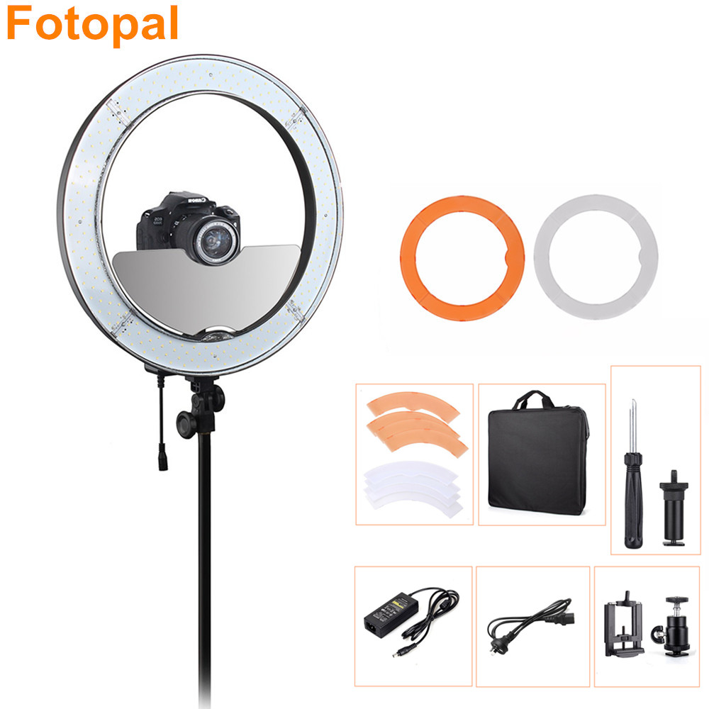 Fotopal 18 55W Dimmable Led Photographic Light Photo Studio Phone Video Camera Ring Lighting Kit Annular Lamp 480 with Mirror fotopal 55w 5500k daylight led ring light lamp for photography camera phone video photo make up selfie light annular lamp