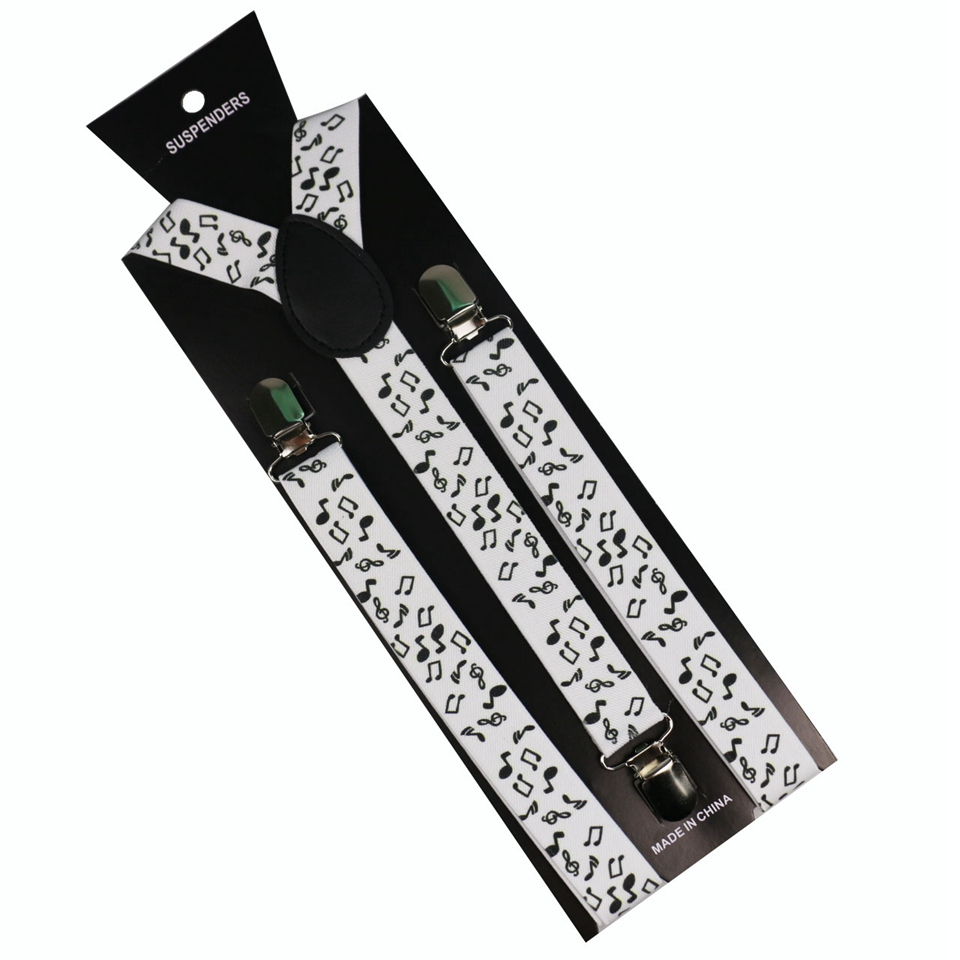 Winfox Fashion Black White Hip Hop Note Melody Clip-on Suspenders Elastic Y-Shape Adjustable Braces For Mens Womens