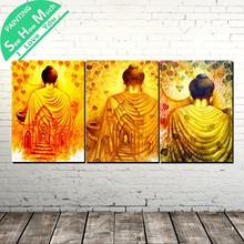 3 Piece Back of Golden Buddha Modern Wall Art Canvas Painting Posters and Prints Framed Pictures Linden leaves