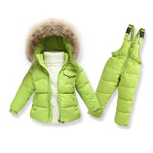 2016 new infant boys Snowsuit baby wear, winter faux fur collar hooded overalls toddler girls down thermal jacket outwear