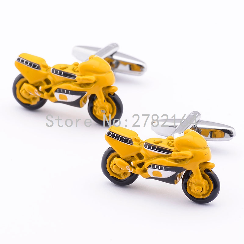 Yellow motorcycle modeling spray printing cufflinks shirts cufflinks cuff factory direct sale free shipping