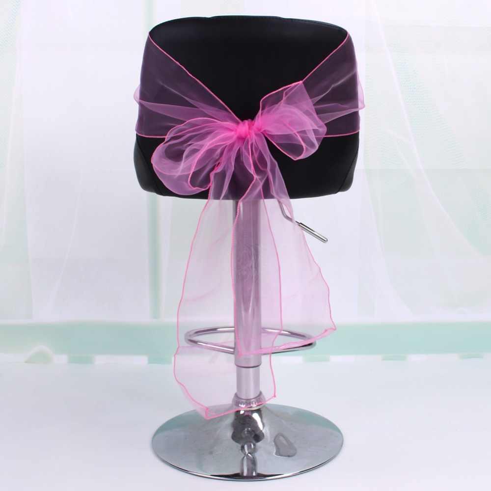Opakowanie 10 lub 50 organzy wstążki na krzesła dekoracja z kokardy na wesele, cena promocyjna, najlepsza jakość niestandardowa węzeł krzesło krawat