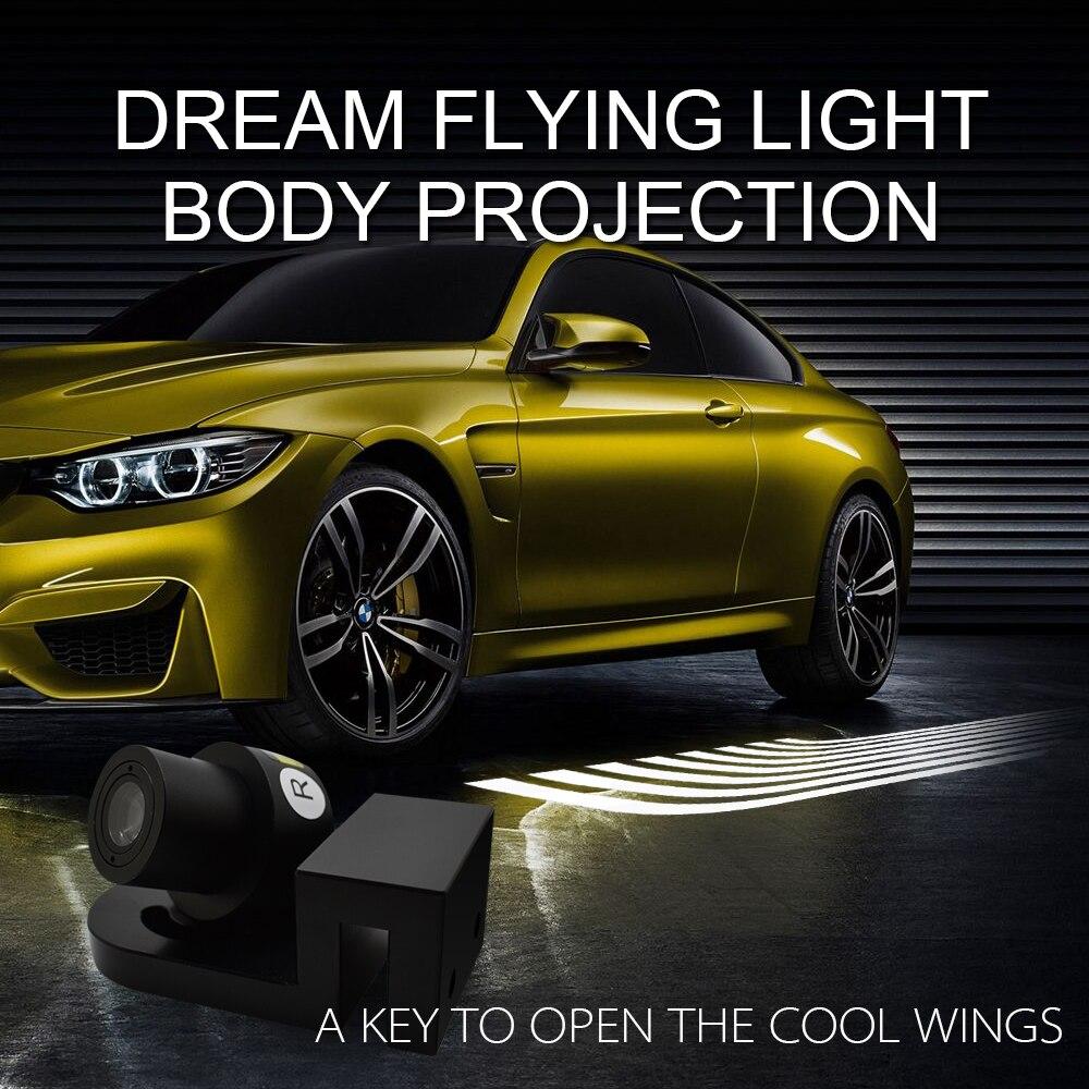 FSTUNING voiture LED porte voyant lampe ange ailes ombre lumière projecteur aluminium 5 W pour Audi BMW Toyota Volkswagen KIA