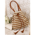 Women Fashion Stripes Straw Bag Ladies Shopping Bag Large Capacity Shoulder Bags Simple Design Elegant Beach Bags