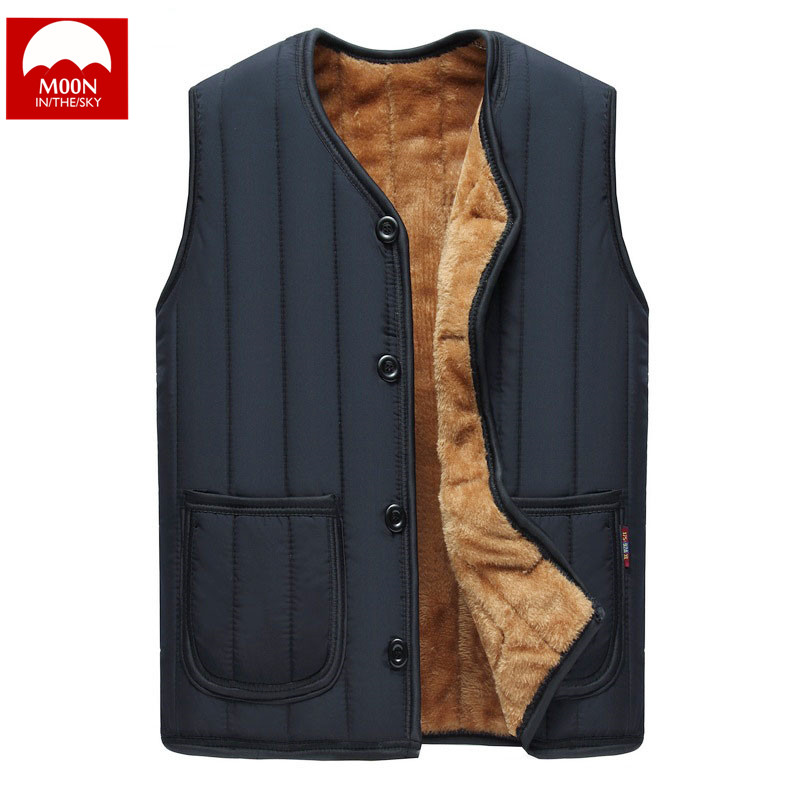 MOON Winter Vest Hooded Plus Velvet Thickening Warm Cotton Circus Men Shoulder Button Jacket Men Sleeveless Cotton Padded Jacket