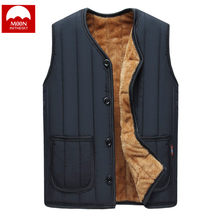 MOON Winter Vest Hooded Plus Velvet Thickening Warm Cotton Circus Men Shoulder Button Jacket Men Sleeveless Cotton Padded Jacket(China)