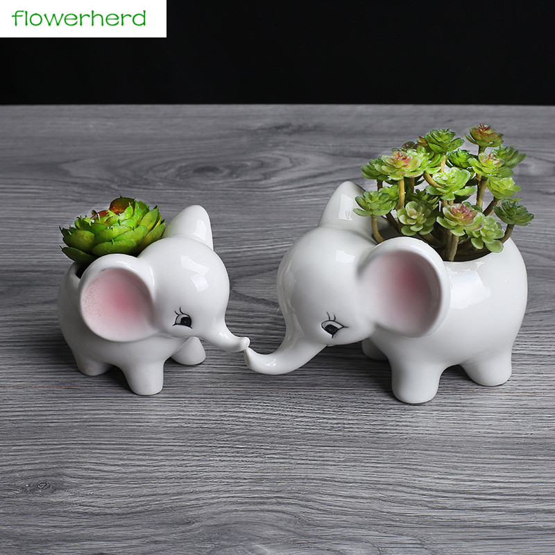 Cartoon Elephant Flower Pots Succulent Plant Flowerpot Ceramic Bonsai Garden Planter Home Office Decor