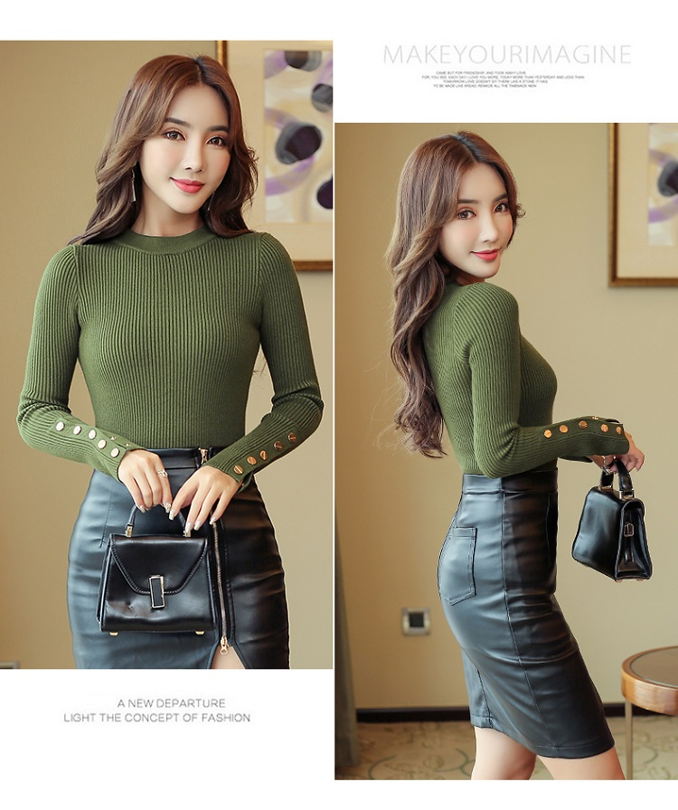 Fashion 19 New Spring Autumn Women Sweater Knitted Long Sleeve O-Neck Sexy Slim Office Lady Button Casual Sweaters Tops 8