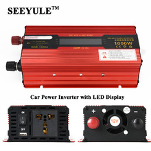 1pc SEEYULE 1000W Car Power Inverter Adapter Converter with LED Display DC 12V 24V to AC 110V / 220V USB Charger for Laptop Fan