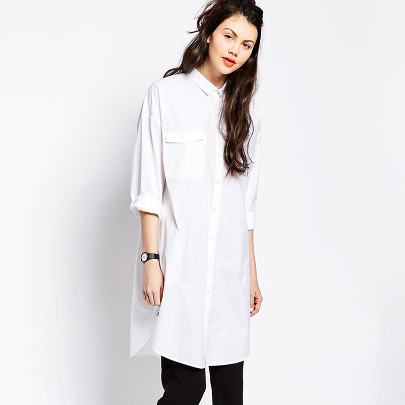 e4576b2468bb44 Drop Ship Oversize Export 2017 New Ladys White Cotton Loose Blouse Women  Long Sleeve Long Shirtdress Female Tops Tees Autumn-in Blouses   Shirts  from ...