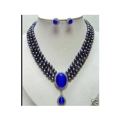 Perfect Women Pearl Jewellery Set Black Color 6 7mm 3Rows Natural Freshwater Pearls Blue Jades Pendant