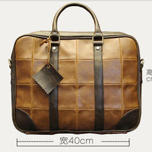 2016 Famous Brand Designer Plaid Crossbody Messenger Bags High Quality Men Leather Handbags Mens Autumn Business Laptop Tote Bag
