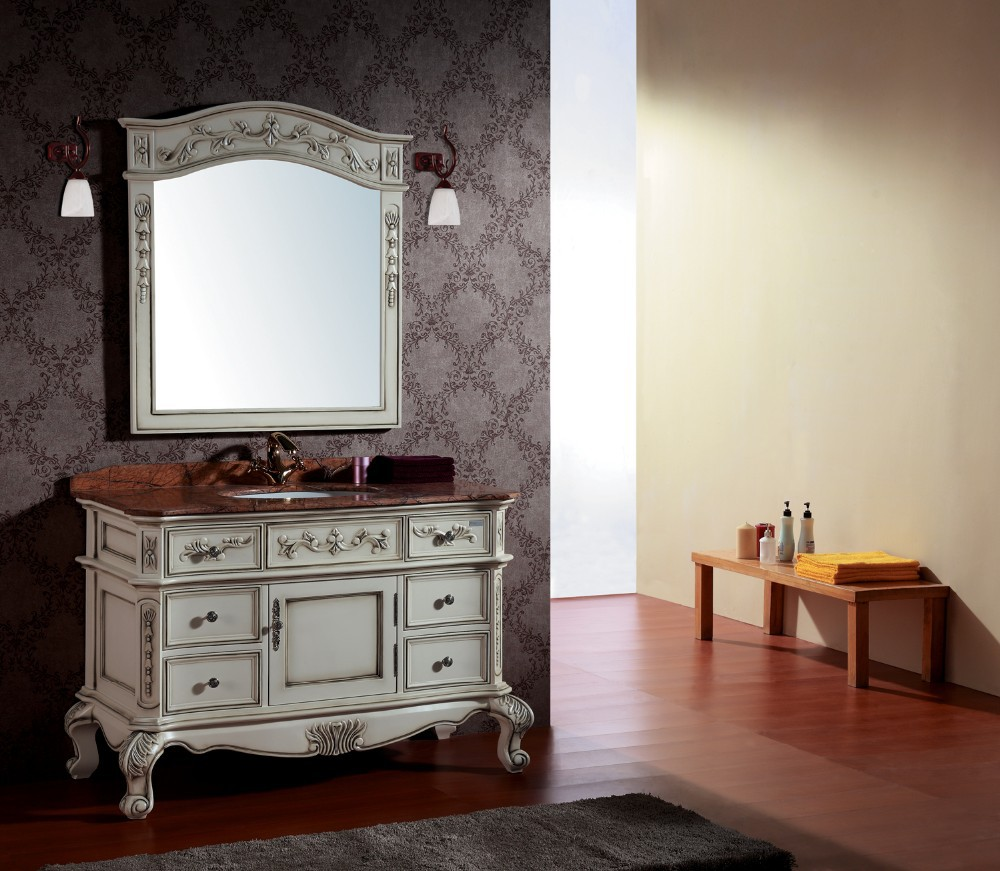 Wood bathroom cabinet - 2015 New Design Solid Wood Bathroom Vanity Cabinet With Marble Top