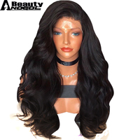 ANOGOL BEAUTY High Temperature Fiber Brazilian Hair Peruca Long Body Wave 1b Synthetic Lace Front Wig For Black Women Costume