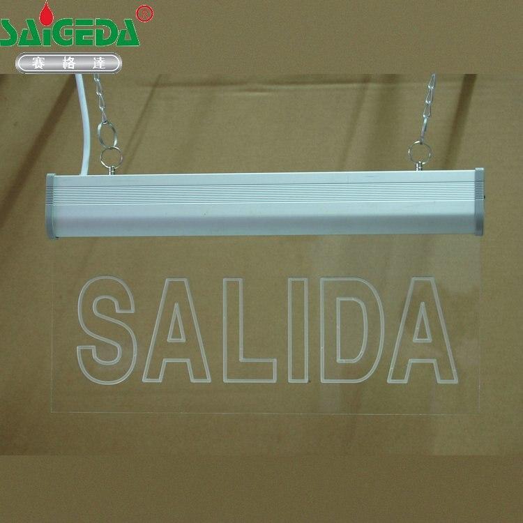 Personalizar padrão Comprador fornece SAÍDA de texto escultura de Acrílico placa de indicação de Seta sinal De Evacuação de emergência de Incêndio LEVOU lâmpada Tag - 2
