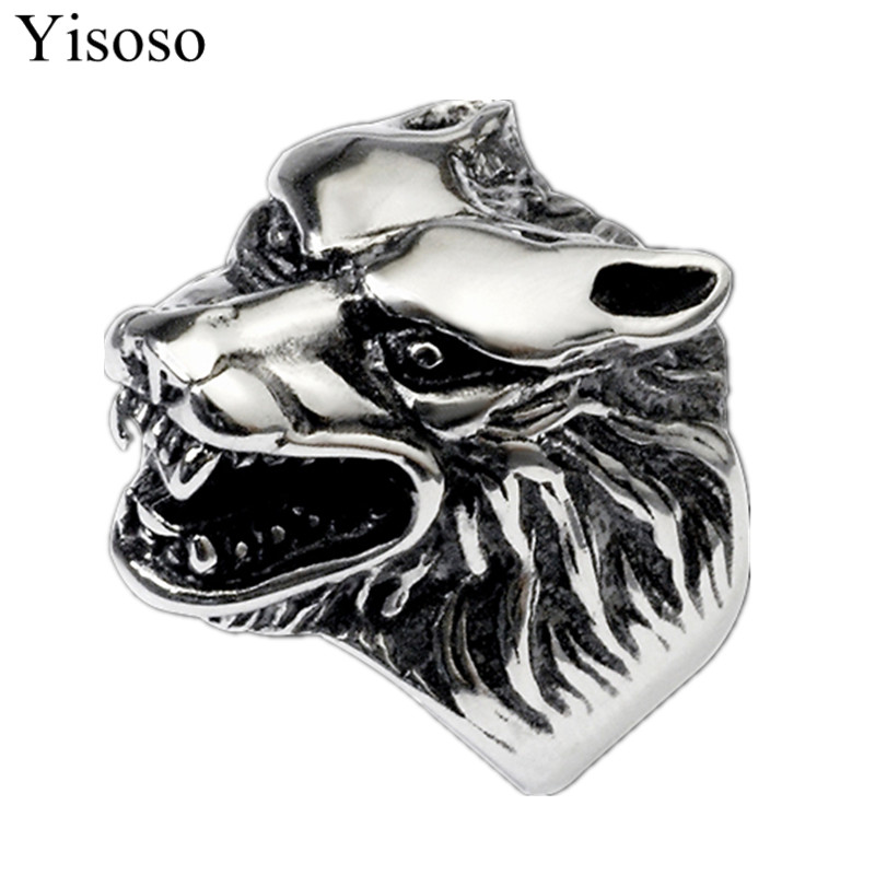 Yisoso titanium steel Cool Wolf Head Ring For Man Cool Punk Man s Fashion Animal Jewelry